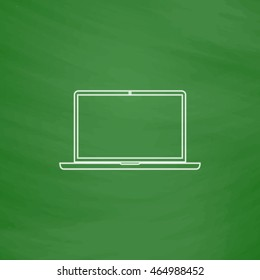 Laptop Outline vector icon. Imitation draw with white chalk on green chalkboard. Flat Pictogram and School board background. Illustration symbol