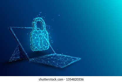 Laptop with padlock and security concept from lines, triangles and particle style design. Illustration vector