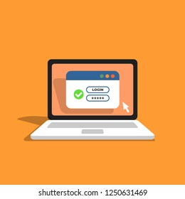 Laptop with password login on screen. Username form with green tick icon.  Window browser with user authorization. Registration form. Vector illustration in flat style.