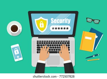 Laptop password notification of a vector, mobile phone security, cellphone, access, user authentication, login, password protection technology