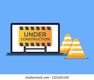 Laptop pc with open web page 404 error message internet development construction. Internet website optimization work in progress concept. Vector design graphic flat cartoon isolated illustration