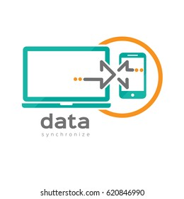 Laptop Phone Data Transfer Logo Design Template