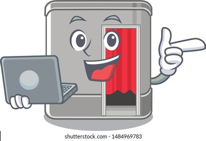 With laptop photo booth in the character shape