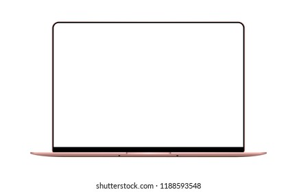 Laptop pink mock up with blank frameless screen - front view. Vector illustration