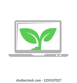 laptop with plant icon