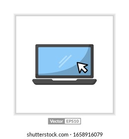 Laptop with pointer or cursor icon isolated. Notebook screen template. Display with clicking mouse on white background.