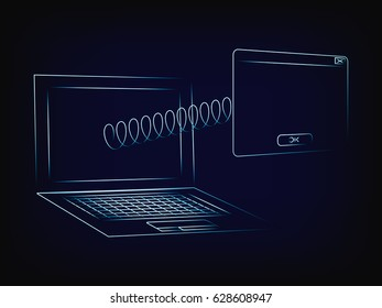 laptop with pop-up window popping out of the screen with a spring, with copyspace to add text (vector illustration with neon effect on mesh background)