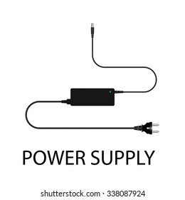 Laptop and power supply to the wire vector illustration