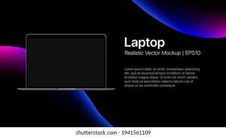 Laptop Presentation slide mockup on liquid bubbles background. Vector illustration