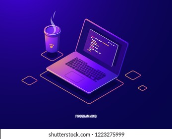 Laptop with program code isometric icon, software development and programming applications dark neon vector