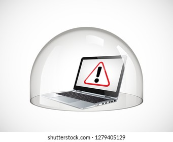 Laptop protection concept - glass dome secure computer against viruses