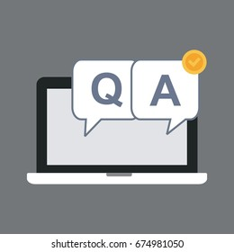 Laptop With Question And Answer Bubble Icon