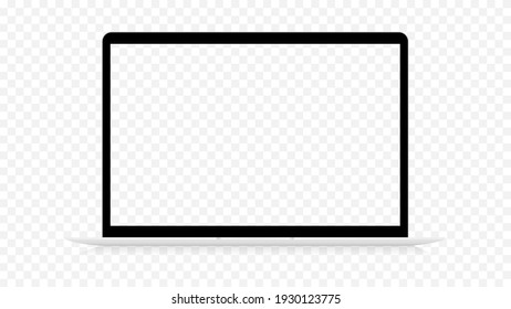 Laptop realistic isolated template. Empty black frame with elegant mockup white keyboard digital gadget with slim body modern touch vector style.