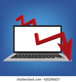 Laptop with red arrows tending downwards on blue background. Vector illustration of stock trading business finance concept design.