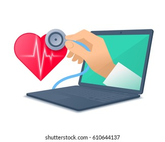 Laptop, red heart shape, pulse line, doctor's hand holding a stethoscope. Medic through the computer screen checking heartbeat. Tele, online, remote medicine concept. Vector flat isolated illustration