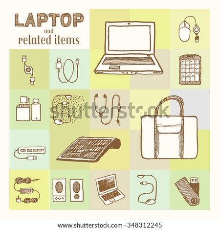 8a5edaf0931 Laptop Related Accessories Collection Vintage Style Stock Vector ...