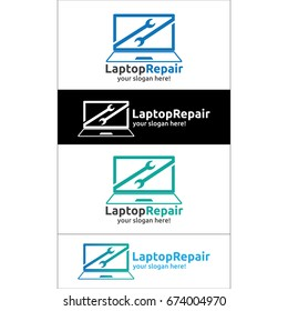 laptop repair logo template. apps logo and other