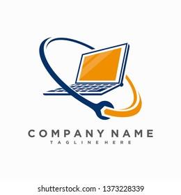 Laptop Repair logo vector icon ilustration