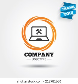Laptop repair sign icon. Notebook fix service symbol. Business abstract circle logo. Logotype with Thank you ribbon. Vector