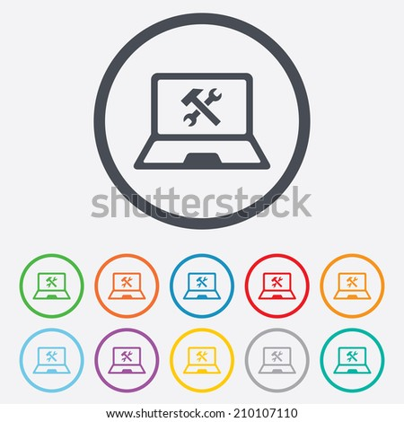 Laptop Repair Sign Icon Notebook Fix Stock Vector (Royalty Free ...