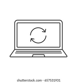 Laptop restart linear icon. Thin line illustration. Notebook with cycling arrow. Reboot contour symbol. Vector isolated outline drawing