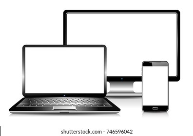 Laptop Screen and Phone with shadows and reflection - Modern computer technology - Personal Devices