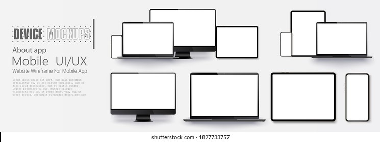 Laptop screen and smartphone. Screen computer monitor. Technology concept. . Set of Device Mock up Separate Groups and Layers.  For use in mockups and presentations. Vector illustration