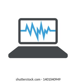 Laptop screen vector icon. filled flat sign for mobile concept and web design. Open notebook computer glyph icon. Laptop sign icon. Notebook pc symbol.