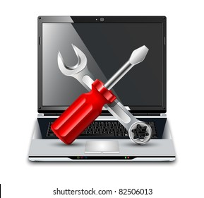 Laptop with screwdriver and wrench. Vector Repair Icon