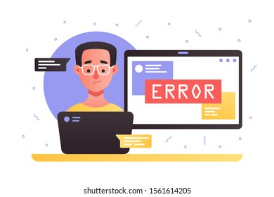 Laptop with service error vector illustration. Cartoon surprised man in glasses chatting with technical support about technical issues flat style concept
