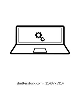 laptop settings icon on white background,vector symbol