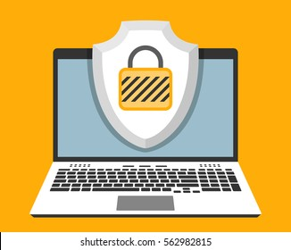 Laptop and shield with padlock on screen. Computer security and protection concept. Vector illustration in flat design style