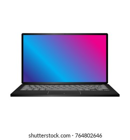 Laptop with shiny screen