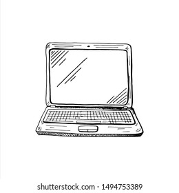 Laptop sketch. Hand drawn sketch style computer. Vector illustration, isolated on white background.