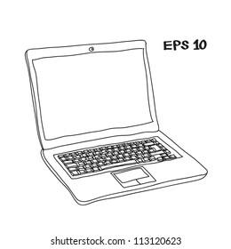 Laptop sketch vector illustration