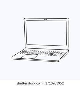 Laptop sketch vector illustration, laptop vector sketch illustration