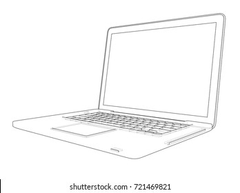 Laptop sketch. Vector rendering of 3d. Wire-frame style. The layers of visible and invisible lines are separated
