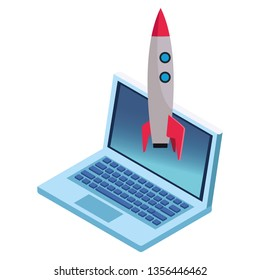 laptop and skyrocket