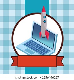 laptop and skyrocket round icon