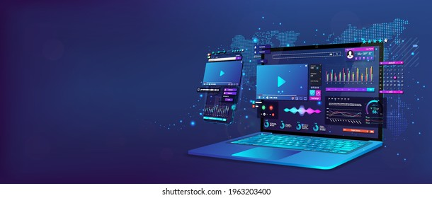 Laptop and smartphone with open dashboard. Online remote work concept. Work at home. Online conference, statistics and analysis, home business management. Business communication. Vector illustration