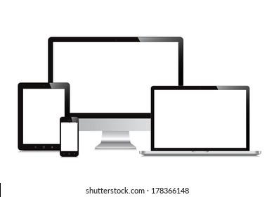 laptop, smartphone, tablet, computer, display isolated mockup white background