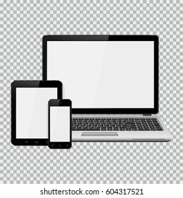 Laptop, smartphone and tablet mockup isolated on transparent background