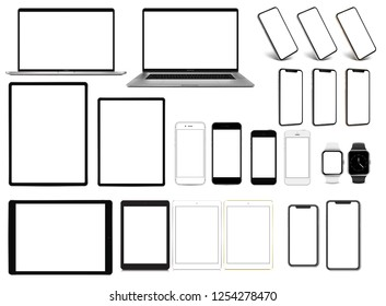 Laptop smartphone tablet pro smartwatch set of devices with blank screen template - eps 10 vector illustration