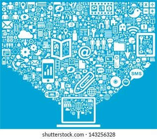Laptop & Social Media icons