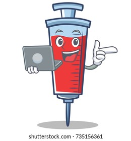 With laptop syringe character cartoon style