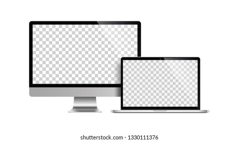 laptop and tablet mockup white background - stock vector.