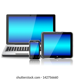 Laptop, tablet pc computer and mobile smartphone with a blank screen