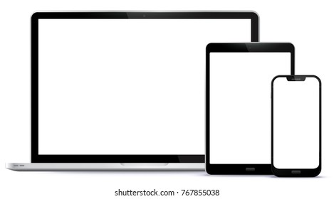 Laptop, Tablet PC, Mobile Phone Vector illustration.