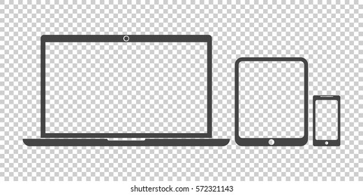 Laptop, tablet, phone icon vector flat