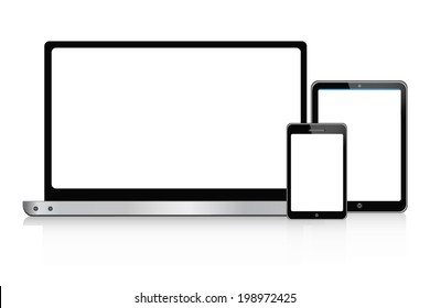 laptop,  tablet and smartphone  set vector